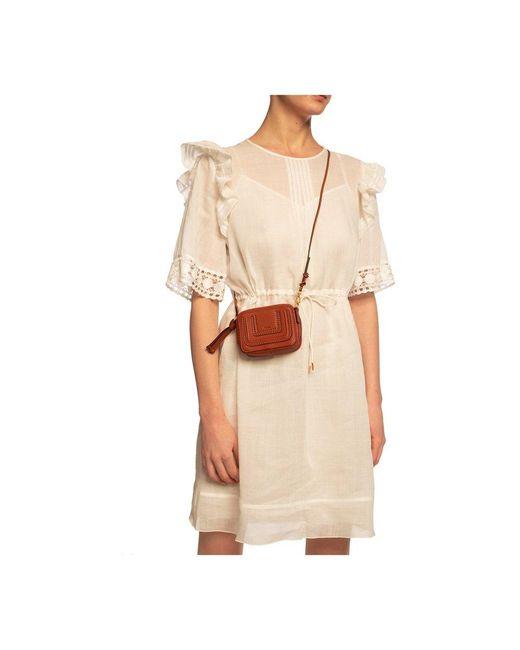 Shoulder bag with logo Chloé en coloris Brown