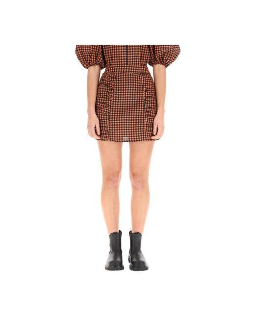 Ganni Seersucker Check Mini Skirt in het Brown