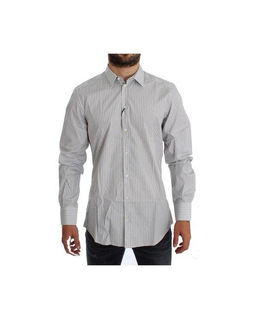 Dolce & Gabbana Gestreepte Slim Fit Shirt in het White voor heren