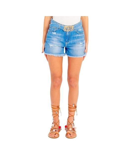 Pinko Shorts Con Fibbia Logo Brooklyn 1j10n0 Y649 in het Blue