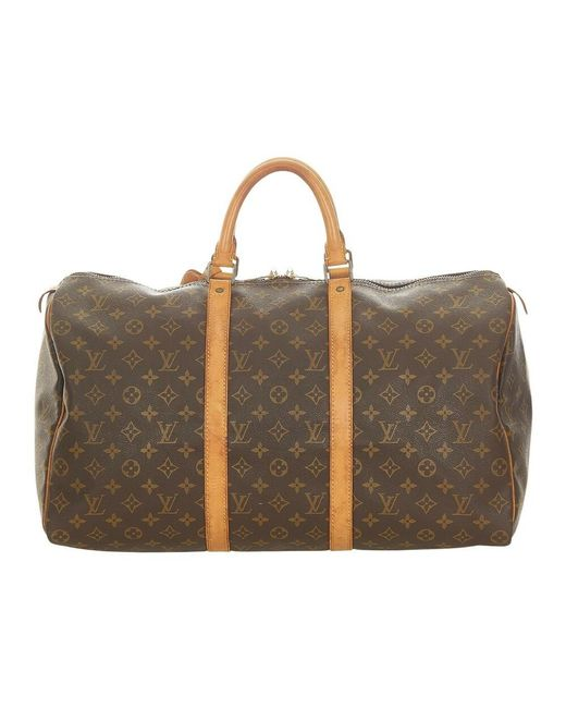Tela Keepall con monogramma 50 di Louis Vuitton in Brown