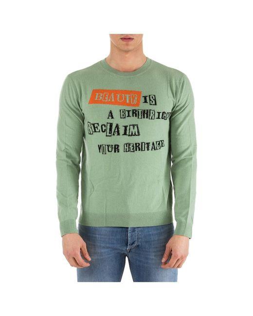 Valentino Men's Crew Neck Neckline Jumper Sweater Pullover in het Green voor heren