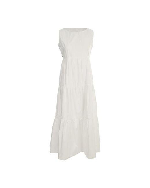Woolrich Sleeveless Popeline Dress in het White