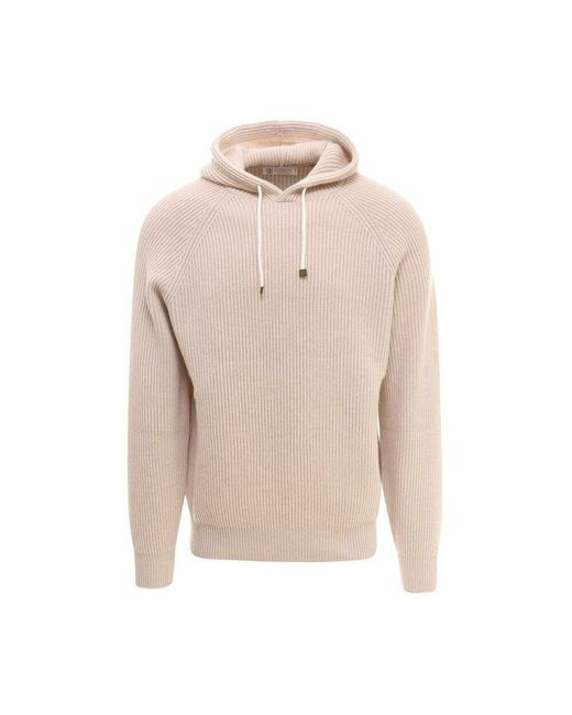 Sweater di Brunello Cucinelli in Natural da Uomo