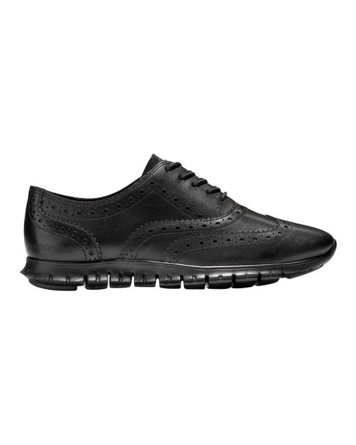 Cole Haan Black Zerøgrand Wingtip Oxford Shoes
