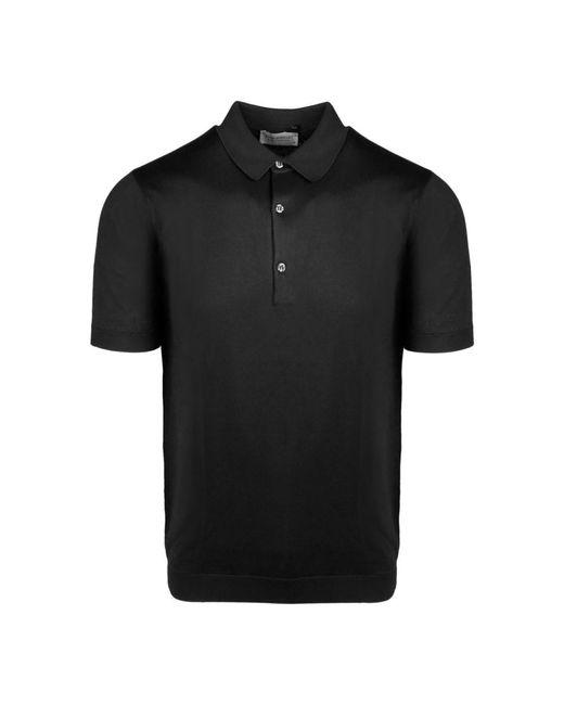 John Smedley Polo T-shirt in het Black voor heren