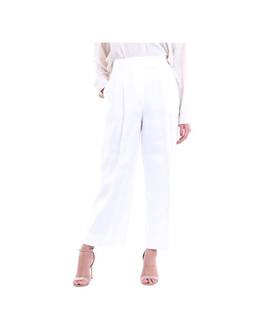 Peserico White P0422006867 Cropped Trousers