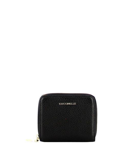 Coccinelle Small Metallic Soft Zip Around Wallet in het Black