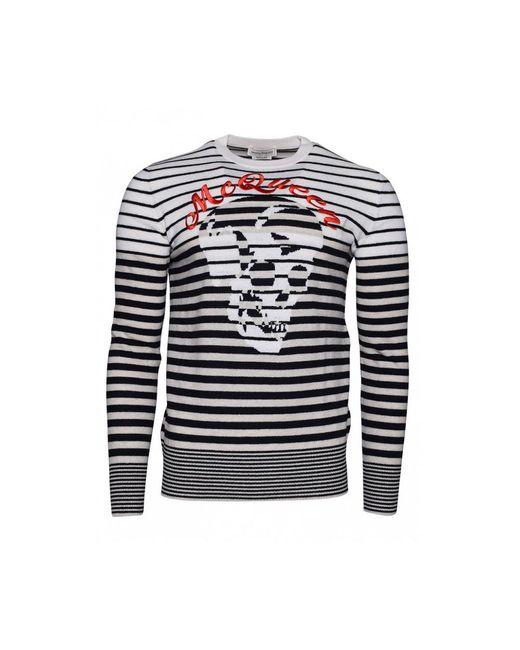 Alexander McQueen Black Skull Sweater in het White voor heren