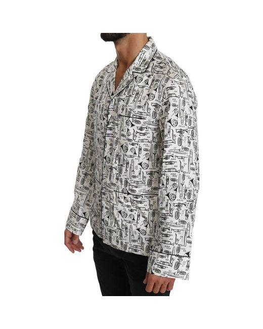Dolce & Gabbana Silk Top Shirt in het White voor heren