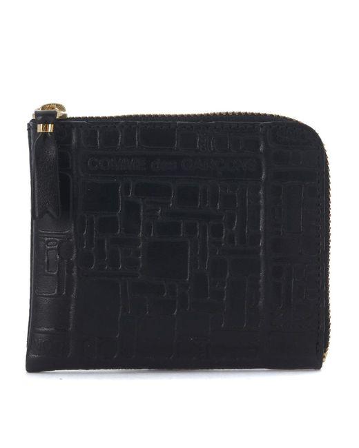 Comme des Garçons Black Leather Wallet With Pattern