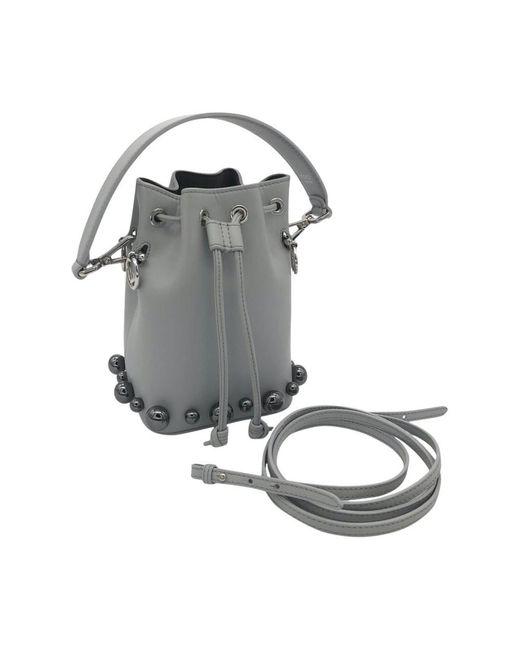 Fendi Vintage Mon Trèsor Beaded Shoulder Bag in het Gray