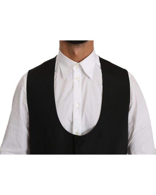 Dolce & Gabbana Wool Regular Fit Formal Dress Vest in het Black voor heren