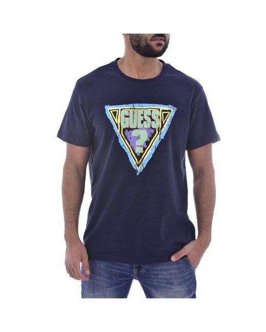 Guess T-shirt En Coton Bio À Gros Logo in het Blue voor heren
