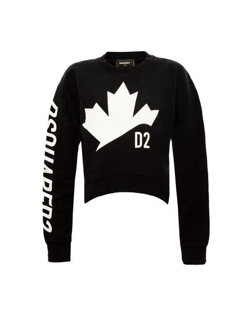 DSquared² Oversize Bijgesneden Sweatshirt in het Black