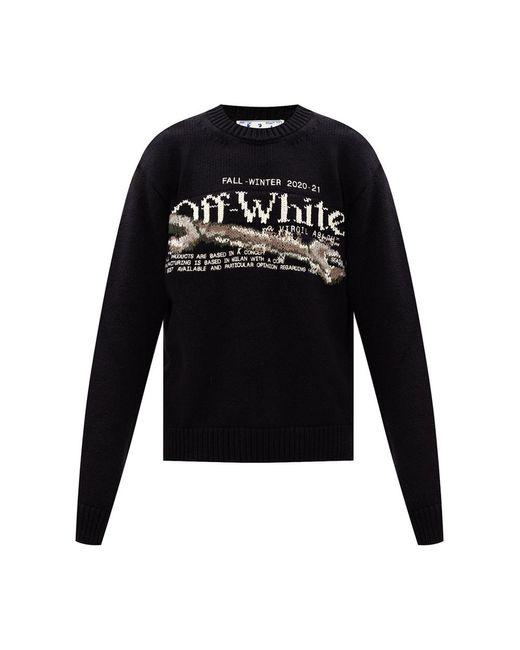 Sweater with logo di Off-White c/o Virgil Abloh in Black da Uomo
