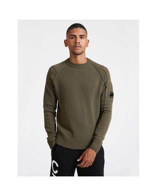 C P Company Homme noir en maille à manches longues Polo Shirt