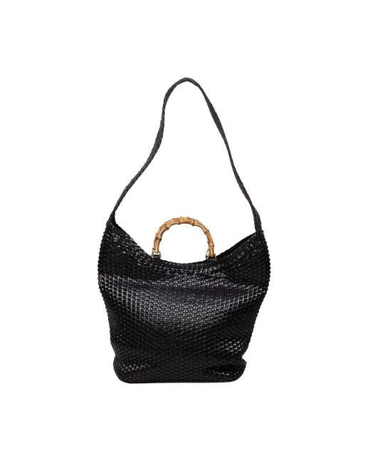 Gucci Geweven Bamboe Tas in het Black
