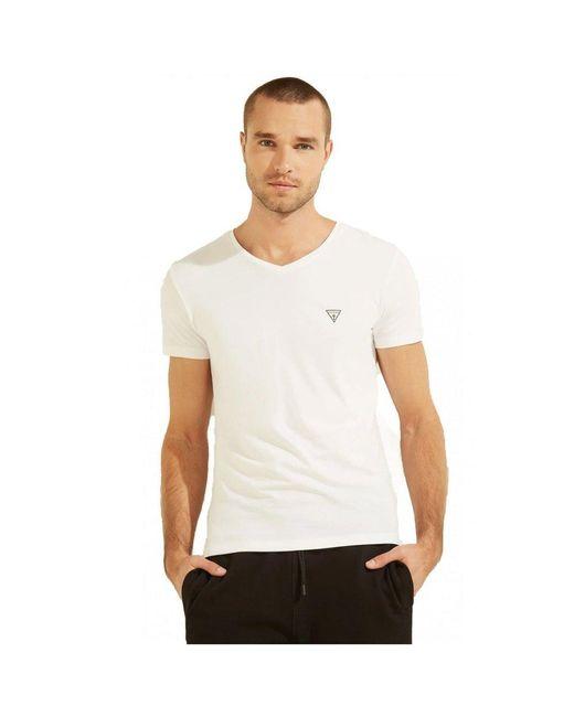 Guess T-shirt Basique Stretch À Petit Logo in het White voor heren