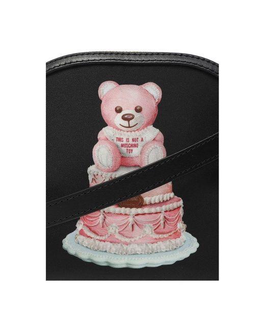 Bandolera torta del oso de peluche Negro Moschino de color Black