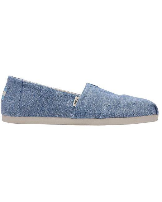 Slub Chambray Alpargata Shoes di TOMS in Blue