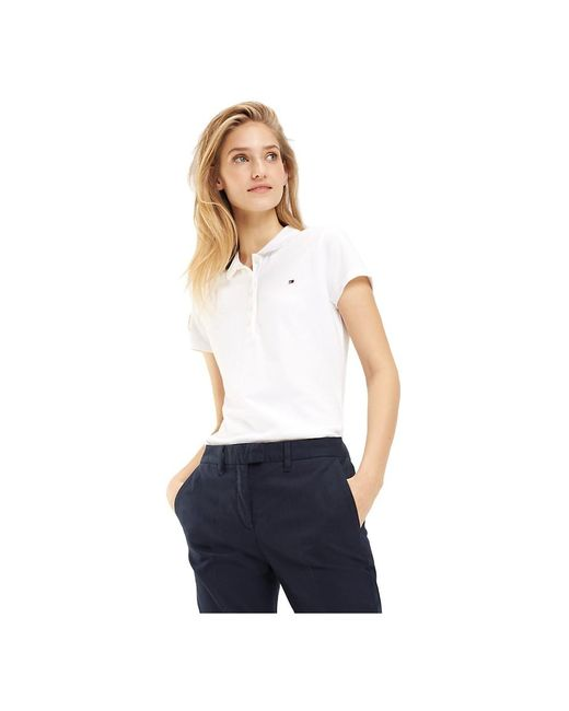 1M57636661 NEW Chiara Polo Femme Blanc Tommy Hilfiger en coloris White