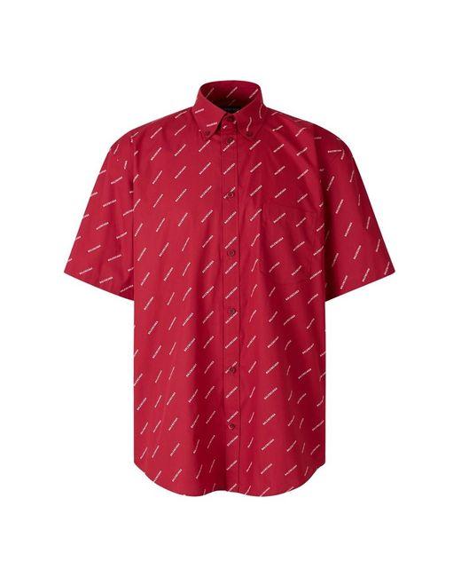 Balenciaga Allover Logo Shirt in Red für Herren