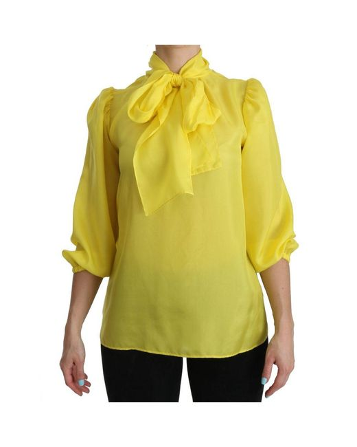 Dolce & Gabbana Zijden 3/4 Top Blouse in het Yellow