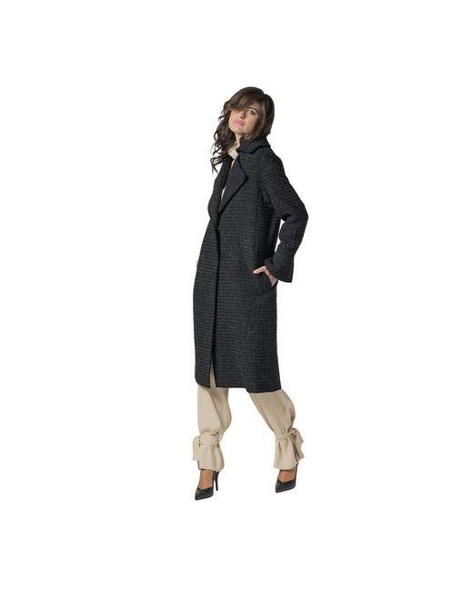 Erika Cavallini Semi Couture Coat In Lana Bouclè in het Black