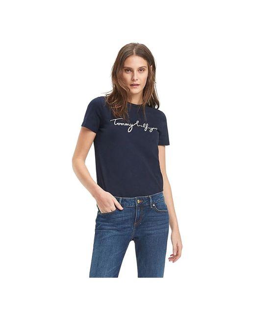 Ww0Ww24967 T-Shirt Heritage Crew di Tommy Hilfiger in Blue