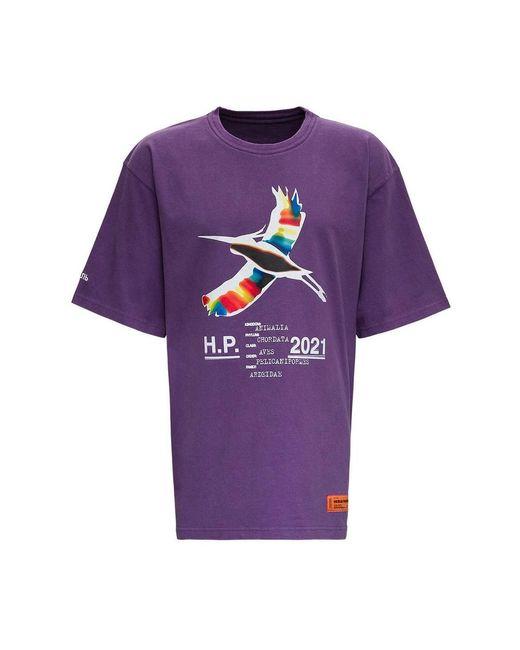 Heron Preston T-shirt With Logo Print in het Purple voor heren