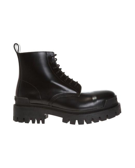 Balenciaga Strike Lederen Trapper Schoenen in het Black voor heren