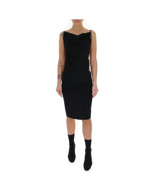 DSquared² Cowl-neck Panelled Dress in het Black