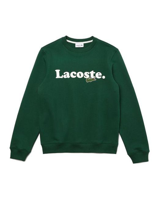 Lacoste Crocodile Branded Fleece Sweatshirt in het Green voor heren