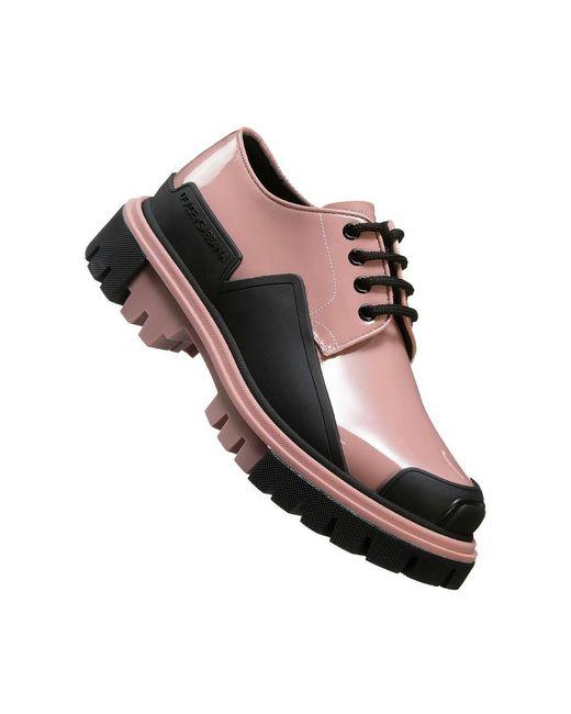 Dolce & Gabbana Pink Schnürschuhe aus Lackleder