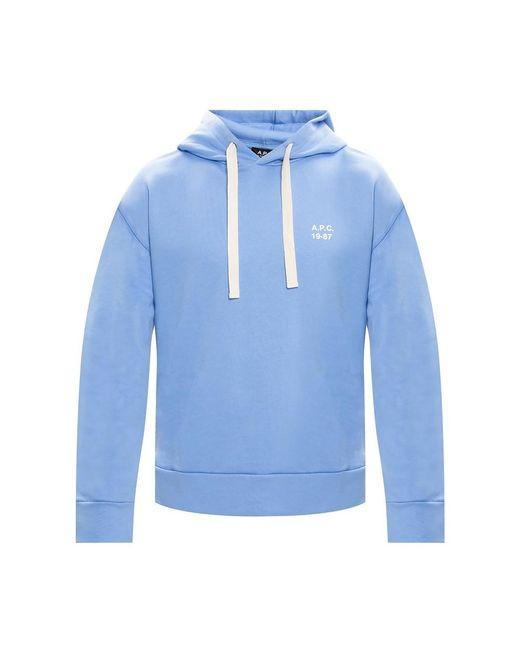 A.P.C. Logo Hoodie in het Blue voor heren