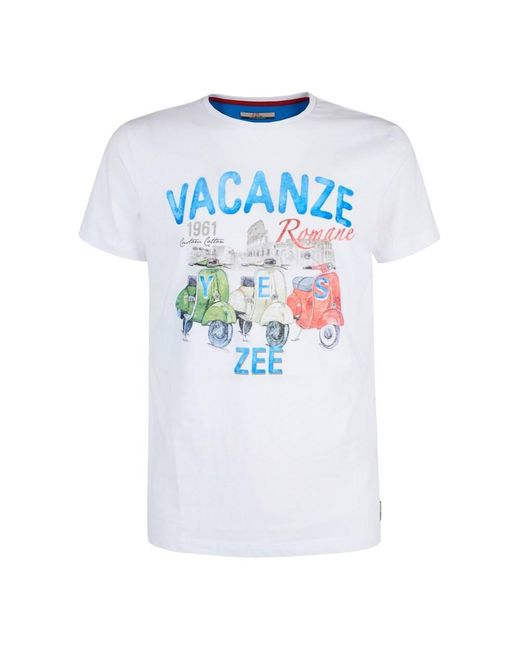 T739-S106 Short sleeve tee di Yes Zee in White da Uomo