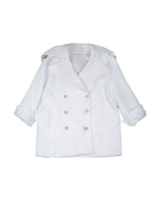 Manteau en laine oversize avec double boutonnage Adidas pour homme en coloris White