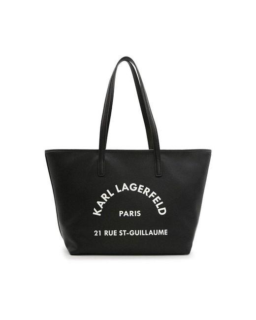 Borsa tote grande in pelle martellata con logo Rue St-Guillaume di Karl Lagerfeld in Black