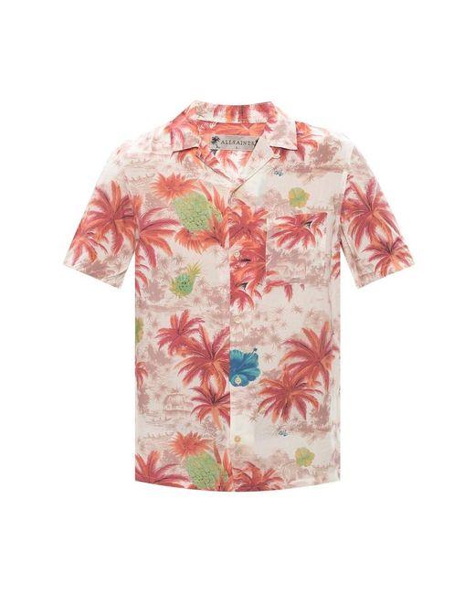AllSaints Kanaloa Short Sleeve Shirt in het Pink voor heren