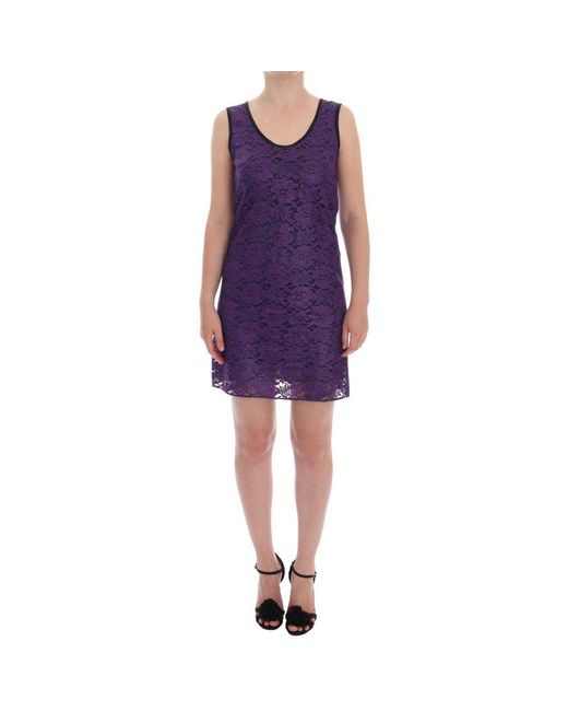 Dolce & Gabbana Floral Lace Korte Mini Shift Jurk in het Purple