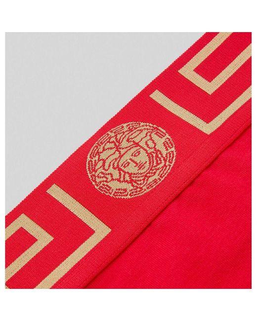 Greca Border High Leg Briefs di Versace in Red