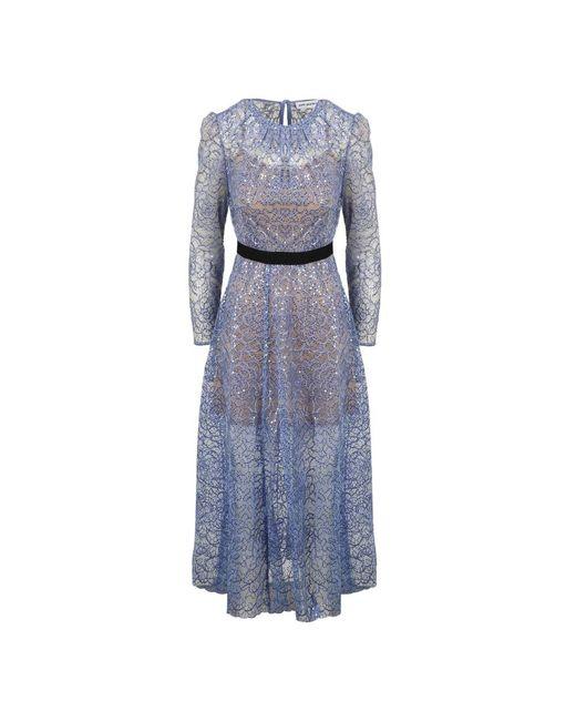 Self-Portrait Flower Sequin Midi Dress in het Blue