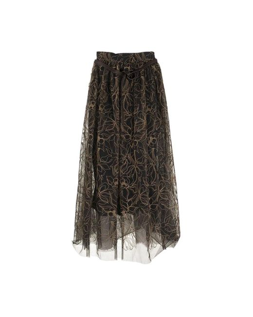 Brunello Cucinelli Rok Raw Embroidery Tule Rok in het Brown