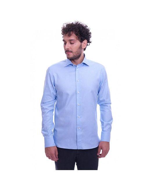 BRANCACCIO Italian Collar Operated Slim Fit Shirt in het Blue voor heren