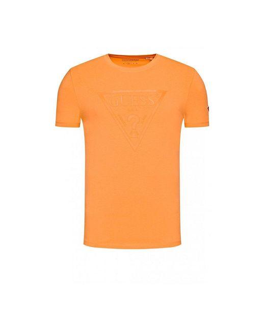Guess Tee Shirt À Gros Logo 3d in het Orange voor heren