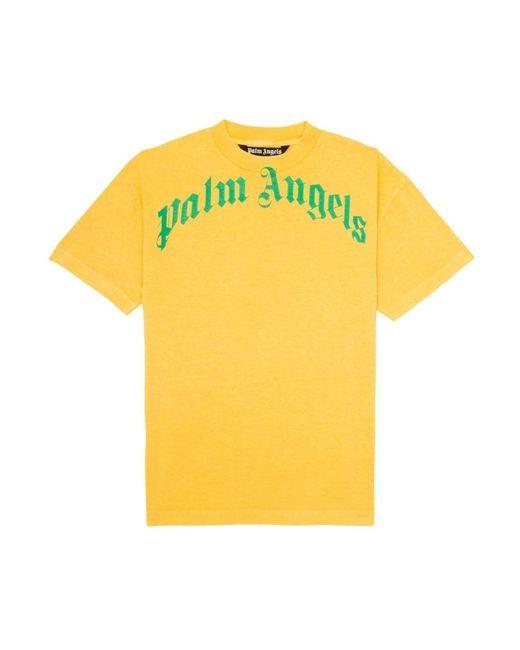 Curved Logo T-Shirt di Palm Angels in Yellow da Uomo