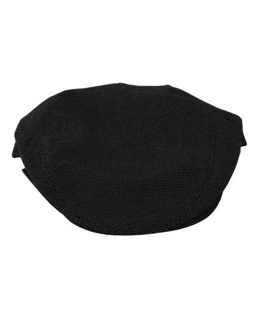 Dolce & Gabbana Crown Logo Newsboy Capello Hat in het Black voor heren