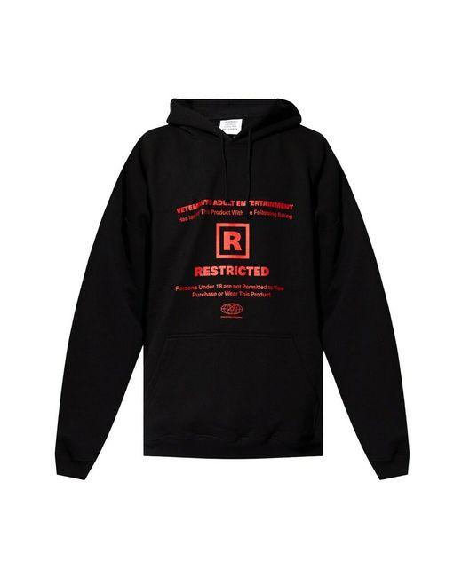Vetements Printed Hoodie in het Black voor heren