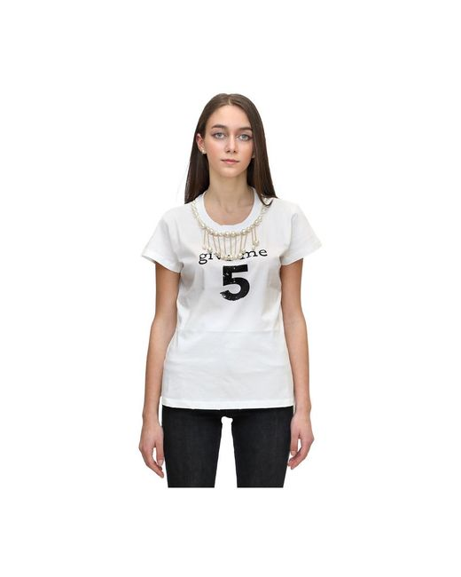 Pinko T-shirt Give Me Five in het White